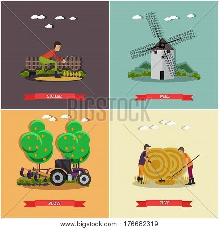 Vector set of farming posters, banners. Sickle, Mill, Plow and Hay design elements in flat style.