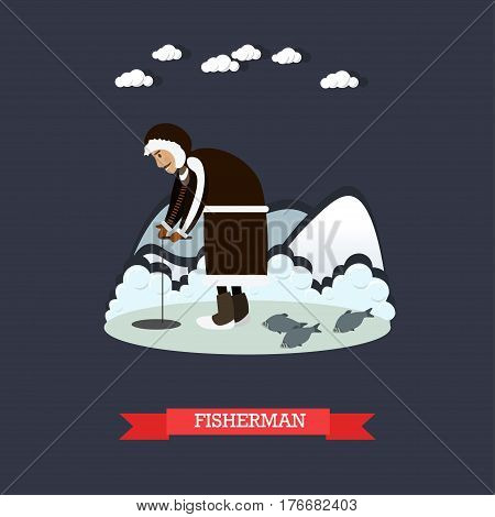 Vector illustrations of arctic landscape, eskimo male fishing. Fisherman concept flat style design element.
