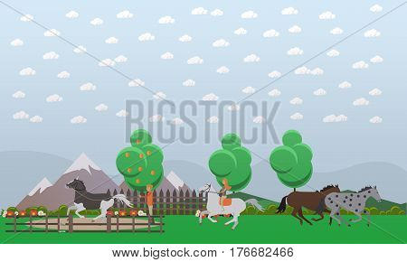 Vector illustration of man and woman taming and training wild animals, galloping brown and dappled horses. Free horses flat style design.