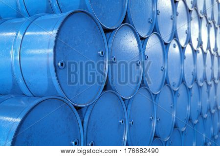 3d rendering heap of blue barrels or blue gallons