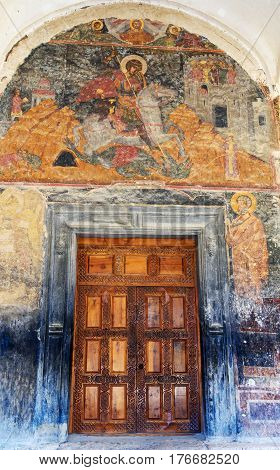 Mural Paintings At The Entrance Of Alaverdi Monastery In The Alazani Valley. Kakheti Region. Georgia