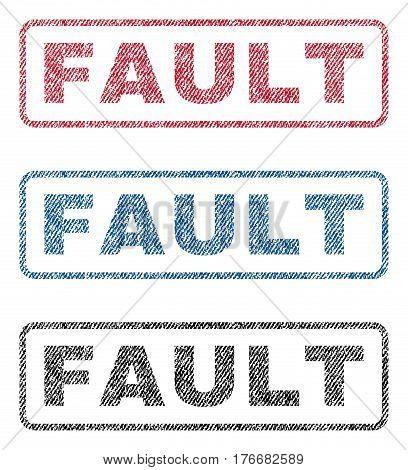 Fault text textile seal stamp watermarks. Blue, red, black fabric vectorized texture. Vector caption inside rounded rectangular shape. Rubber sticker with fiber textile structure.