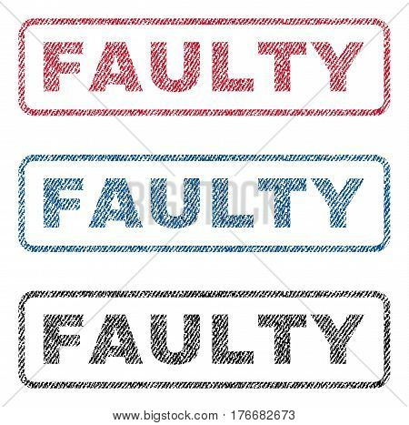 Faulty text textile seal stamp watermarks. Blue, red, black fabric vectorized texture. Vector tag inside rounded rectangular shape. Rubber sticker with fiber textile structure.