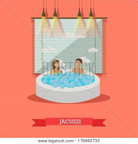 Vector illustration of young people enjoying jacuzzi. Hot tub spa services concept design elements in flat style.