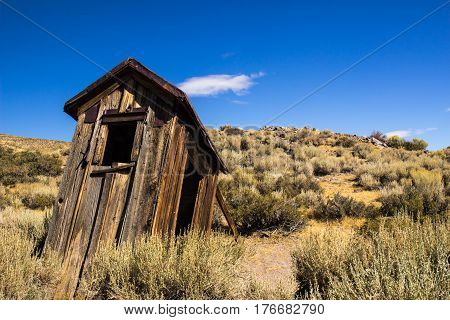 Vintage Wood Outhouse In California Ghost Town