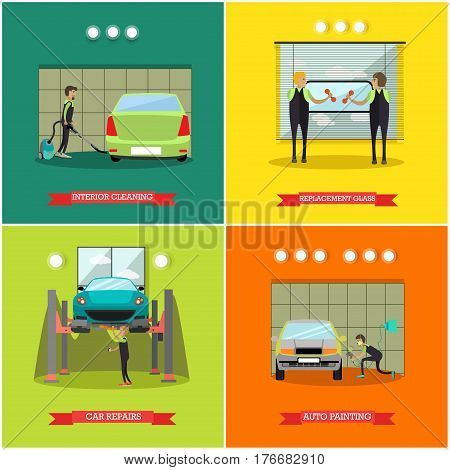 Vector set of car service station, repair shop posters, banners. Interior cleaning, Replacement glass, Car repairs and Auto painting concept flat style design elements.