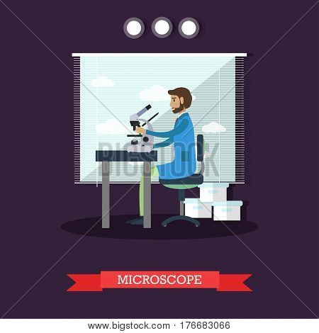 Vector illustration of scientist male looking through microscope, investigating objects. Laboratory interior and equipment design element in flat style.