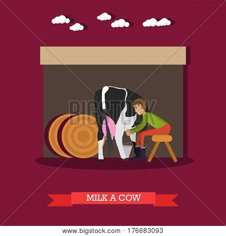 Vector illustration of milker milking cow. Dairy farm, farming concept design element in flat style.