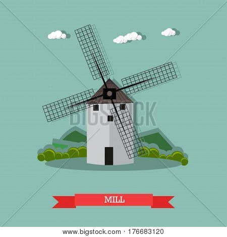 Vector illustration of retro windmill used to grind corn into flour. Farming concept design element in flat style.