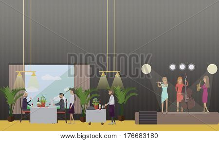 Vector illustration of musicians performing on restaurant stage, people visitors having dinner and listening to music. Flat style design.