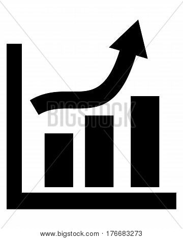 growing graph icon arrow growth bar money grow
