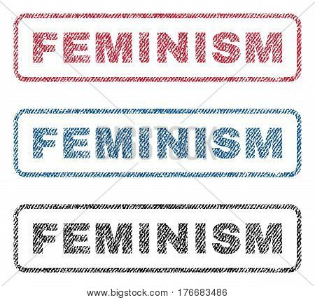Feminism text textile seal stamp watermarks. Blue, red, black fabric vectorized texture. Vector tag inside rounded rectangular shape. Rubber sticker with fiber textile structure.
