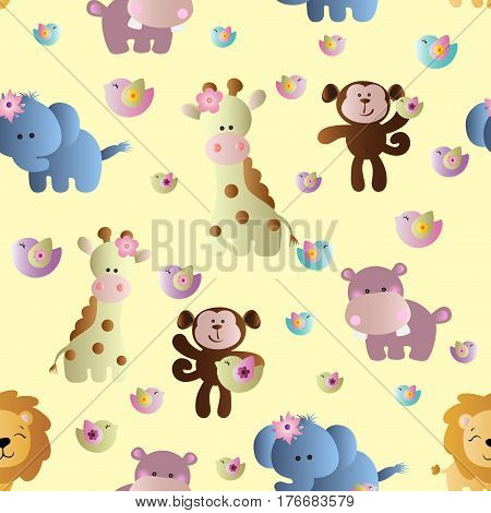 Drawing of a seamless pattern with cute african animals - hippopotamus monkey elephant lion and giraffe in cartoon style