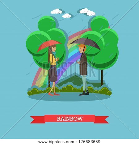 Vector illustration of young couple walking in the rain with umbrellas. Blue sky crested with rainbow, flat style design element.