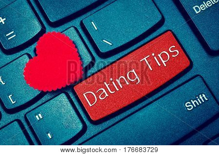 concepts of online dating tips with message on enter key of keyboard.