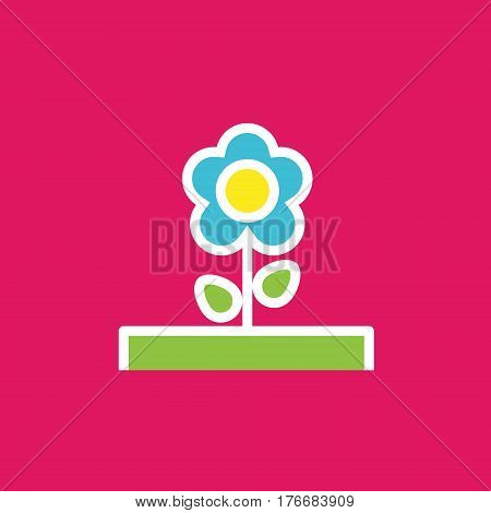Vector icon or illustration showing botanical with flower in outline style