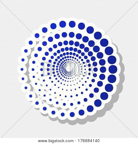 Abstract technology circles sign. Vector. New year bluish icon with outside stroke and gray shadow on light gray background.
