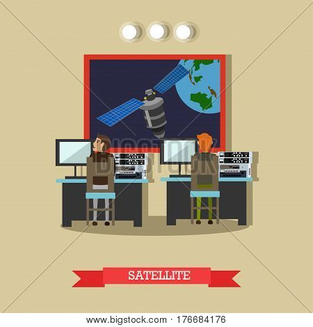 Vector illustration of artificial satellite revolving around the Earth, mission control center personnel monitoring all aspects of space exploration. Flat style design element.