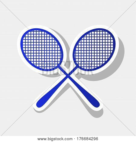 Tennis racquets sign. Vector. New year bluish icon with outside stroke and gray shadow on light gray background.