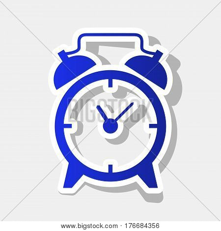Alarm clock sign. Vector. New year bluish icon with outside stroke and gray shadow on light gray background.