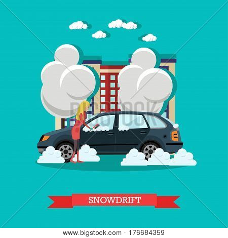 Vector illustration of young woman clearing car from snow. Snowdrift concept design element in flat style.
