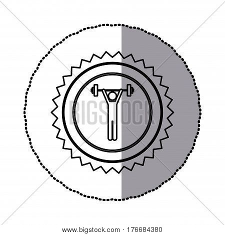 sticker of monochrome circular frame with contour sawtooth of pictogram with man weightlifting vector illustration poster
