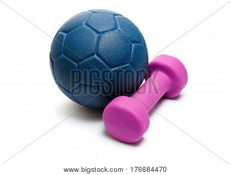 Blue leather ball with dumbbell, on white background. Healthy lifestyle and sports.