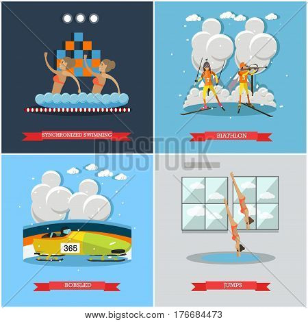 Vector set of winter and water sports concept posters, banners. Synchronized swimming, Biathlon, Bobsled and Jumps into water concept flat style design elements.
