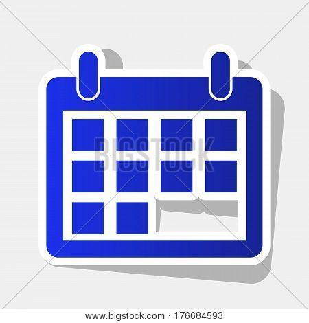 Calendar sign illustration. Vector. New year bluish icon with outside stroke and gray shadow on light gray background.