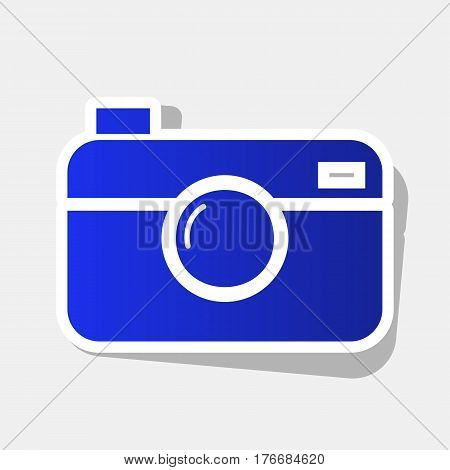 Digital photo camera sign. Vector. New year bluish icon with outside stroke and gray shadow on light gray background.