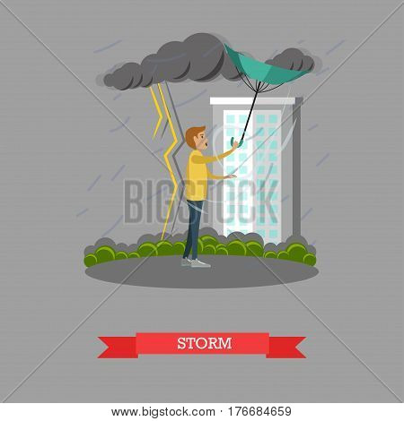 Stormy, windy and rainy weather concept vector illustration. Young man caught in heavy rain with thunderstorm and lightning, flat style design.