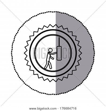 sticker of monochrome circular frame with contour sawtooth ofpictogram with man knocking punching bag vector illustration
