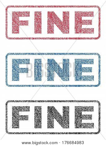 Fine text textile seal stamp watermarks. Blue, red, black fabric vectorized texture. Vector tag inside rounded rectangular banner. Rubber sign with fiber textile structure.