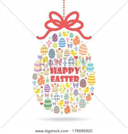Colourful Easter egg made of simple Easter icons / Easter egg isolated on white background / Easter theme vector illustration.