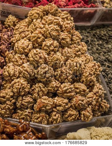 Pile Of Whole Walnuts  Without Nutshells