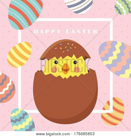 Easter card with white frame, cute chick and colorful Easter eggs on polka dot background / Easter cartoon vector illustration.