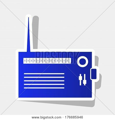 Radio sign illustration. Vector. New year bluish icon with outside stroke and gray shadow on light gray background.