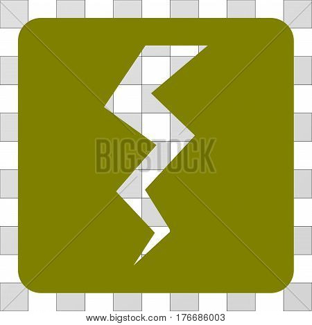 Thunder Crack square icon. Vector pictograph style is a flat symbol hole in a rounded square shape, olive color.