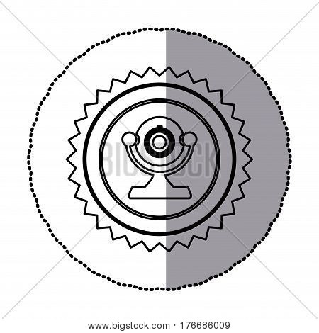 sticker of monochrome circular frame with contour sawtooth of desktop webcam vector illustration