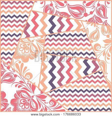 Zigzag, russian floral seamless patchwork pattern vector. Khokhloma style
