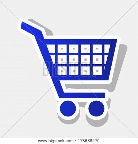 Shopping cart sign. Vector. New year bluish icon with outside stroke and gray shadow on light gray background.