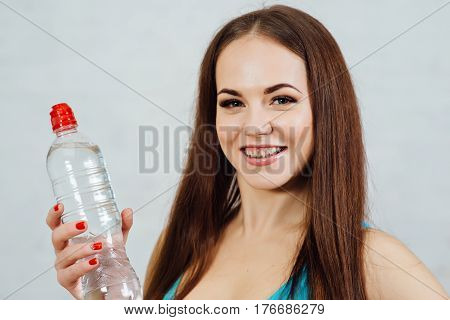 Model With Perfect Fresh Skin, Teeth Braces.