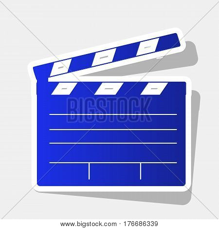 Film clap board cinema sign. Vector. New year bluish icon with outside stroke and gray shadow on light gray background.