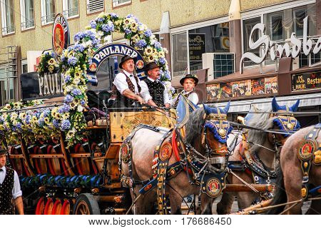 Munich,Germany-September 19,2015:A brewery carriage gets ready to take part at the Brewers' parade at the start of the Oktoberfest