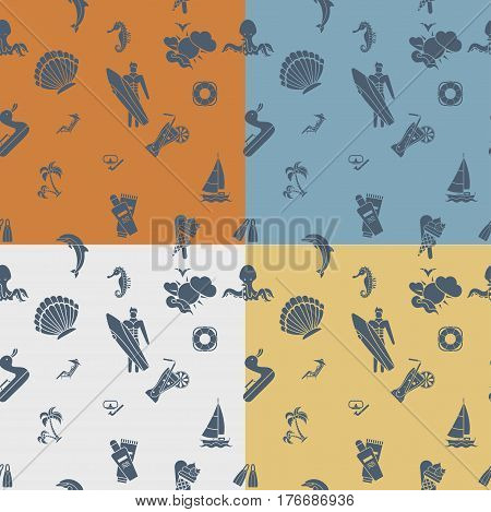 Four Background in Different Colors, Summer and Beach. Vector