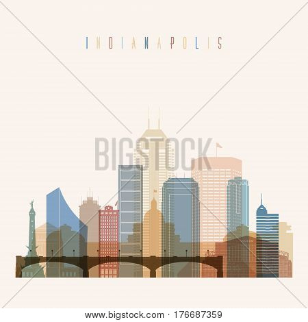 Transparent style Indianapolis state Indiana skyline detailed silhouette. Trendy vector illustration.