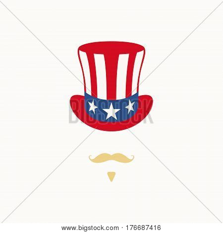 Uncle Sam hat on white background. Cylinder USA flag. Uncle Sam American Patriotic Caricature. Vector illustration.