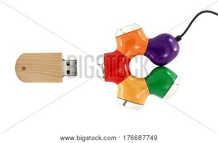 colorful usb hub and usb flash drive isolated on white background, connected devices for storage and transferring digital data