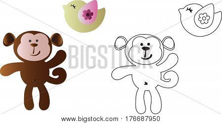 drawing of a cartoon cute toy baby monkey and bird - in color and line art