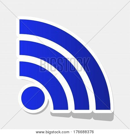 RSS sign illustration. Vector. New year bluish icon with outside stroke and gray shadow on light gray background.